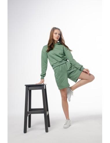 Костюм Олива: шорты + укороченное худи