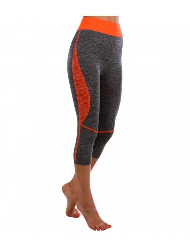 Капри спортивные (серый/оранжевый)