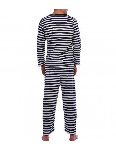 Пижама мужская (бело-синяя полоска) НочС-014