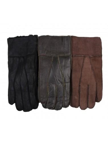 Перчатки мужские из дубленки с мехом